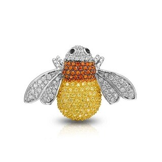 Bling Jewelry CZ Yellow Bumble Bee Pin Brooch Rhodium Plated Yellow Gold Plated
