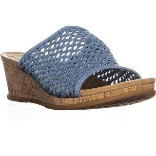 BareTraps Flossey Comfrot Wedge Sandals, Washed Denim - 11 us