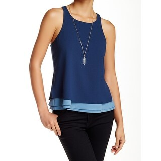 Cooper & Ella NEW Blue Womens Size Large L Layered Racer-Back Tank Top