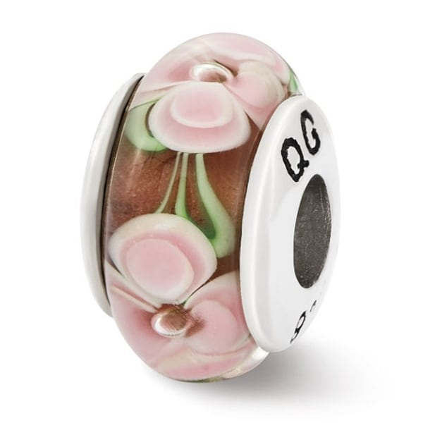 Sterling Silver Reflections Light Pink Flower Hand Blown Glass Bead (4mm Diameter Hole)