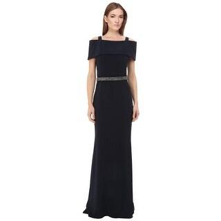 Badgley Mischka Off Shoulder Beaded Waist Evening Gown Dress