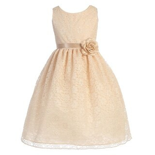 Little Girls Champagne Floral Lace Flower Girl Dress 2T-6X