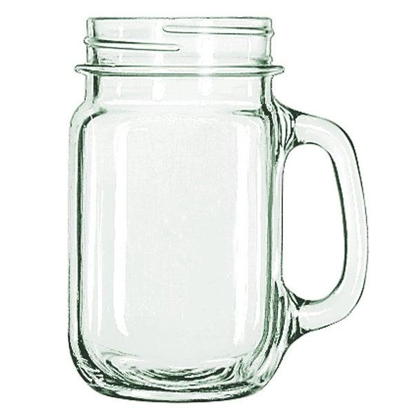 Libbey Drinking Mason Jar Mug with Handle, Clear, 16-Ounces, 12-Pack