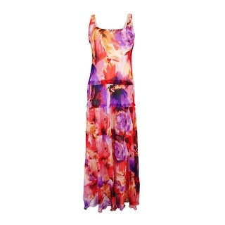 Nine West Women's Floral-Print Tiered Maxi Dress
