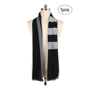 Men Plaids Pattern Warm Soft Wrap Shawl Long Scarves Black+Gray