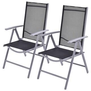 Costway Set of 2 Patio Folding Chairs Adjustable Reclining Indoor Outdoor Garden Pool