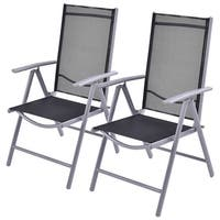 Costway Set of 2 Patio Folding Chairs Adjustable Reclining Indoor Outdoor Garden Pool