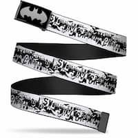 Batman Reverse Brushed Silver Cam Batman Action Verbiage White Black Web Belt