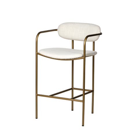 "Mercana Parker 26.5"" Seat Height Cream Fabric Seat Gold Metal Base Stool"
