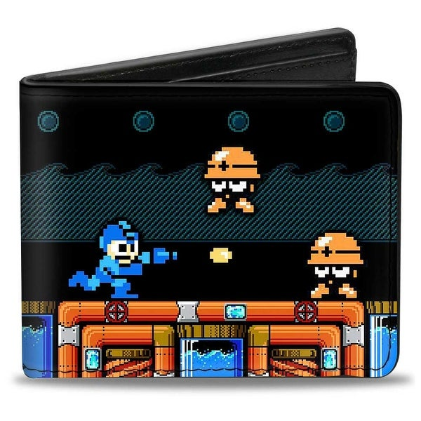 Megaman Game Play Scene Hard Hat Mets Bi Fold Wallet - One Size Fits most