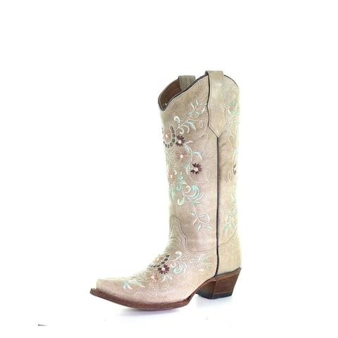 "Circle G Western Boots Womens 13"" Floral Snip Toe Cowboy Heel"