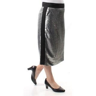 BAR III $70 Womens New 1191 Silver Sequined Below The Knee Pencil Skirt 6 B+B