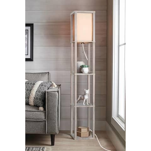 "62.5"" Wood Frame Etagere Floor Lamp"