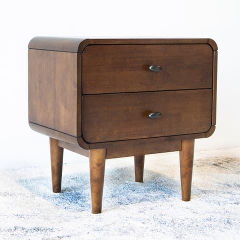 Seamore Mid-Century Modern RecTangular Solid Wood 2-Drawer NightStand in Brown