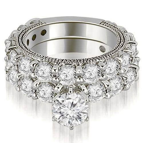 4.15 ct.tw 14K White Gold Antique Round Cut Diamond Engagement Bridal Set HI, SI1-2