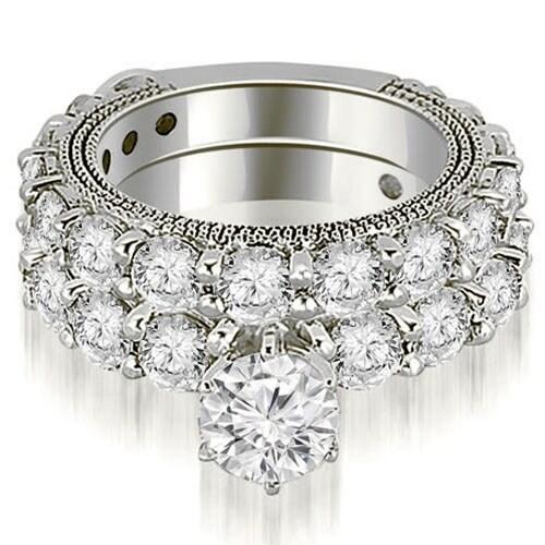 4.40 cttw. 14K White Gold Antique Round Cut Diamond Engagement Set