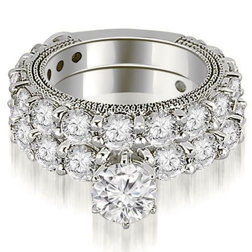 4.65 cttw. 14K White Gold Antique Round Cut Diamond Engagement Set