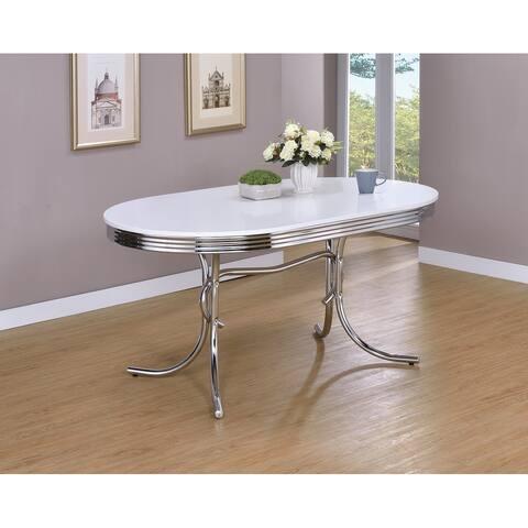 Porch & Den Canyon White/ Chrome Retro-style Oval Dining Table