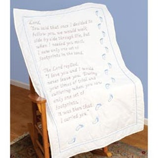 """Footprints - Stamped White Lap Quilt Top 40""""X60"""""""