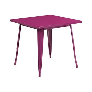 Offex 31.5'' Square Purple Metal Indoor-Outdoor Table