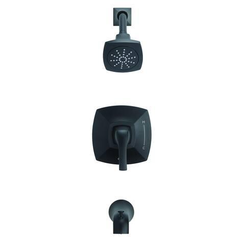 Gerber Vaughn 1H Tub & Shower Trim Kit & Treysta Cartridge 2.0 GPM D502018BSTC Satin Black - Satin Black