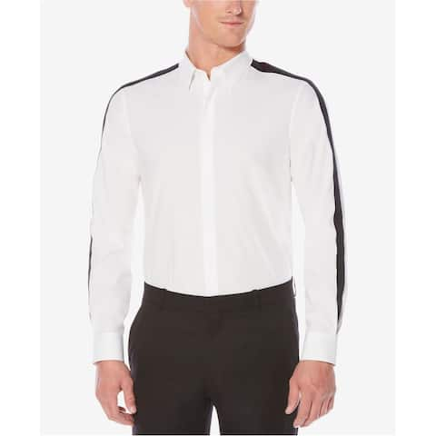 Perry Ellis Mens Slim Stripe Button Up Shirt, White, Large