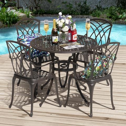 NUU GARDEN 5 Piece Cast Aluminum Patio Dining Set for Yard Porch Balcony