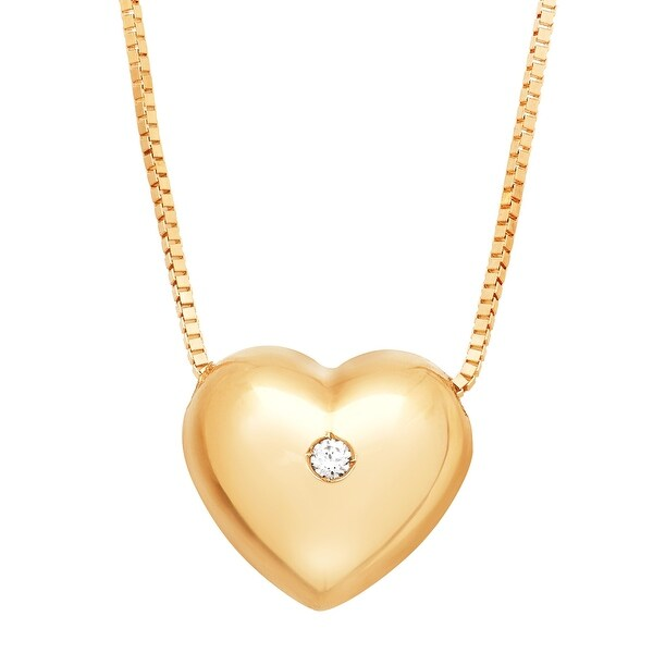 Puffed Heart Pendant with Cubic Zirconia in 14K Gold