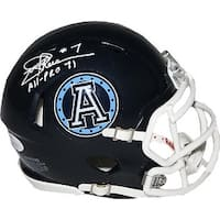 Joe Theismann signed CFL Toronto Argonauts Speed Mini Helmet AllPro 71 JSA Hologram