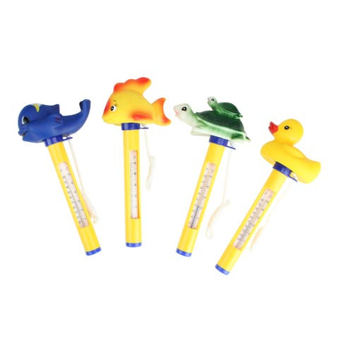 Set of 4 Yellow and Blue Animal Themed Floating Swimming Pool Thermometers with Cords 9""