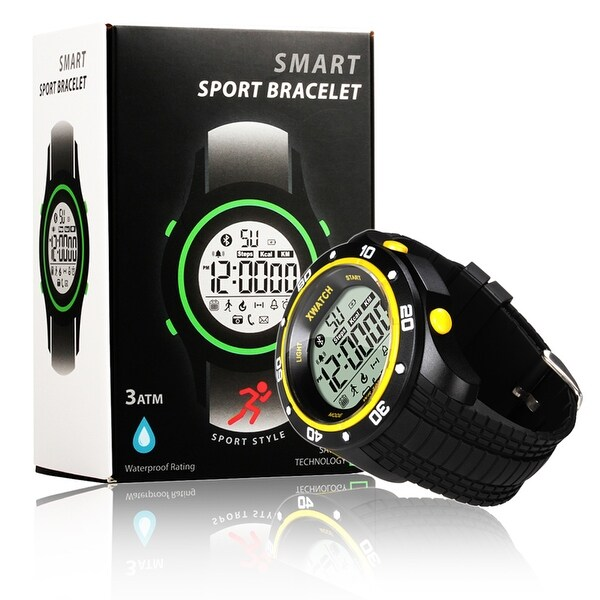 Indigi® Bluetooth 4.0 Rugged Waterproof Sports Style Watch w/ Step Counter + Calorie Count + Stopwatch + Smart Alarm
