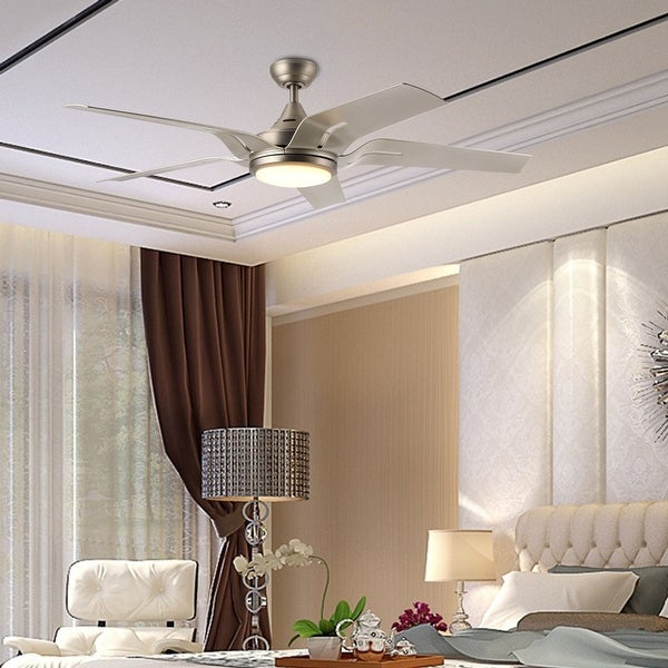 "CO-Z 56"" 5-Blade Brushed Nickel Reversible LED Ceiling Fan w Remote Control and Light Kit. Opens flyout."