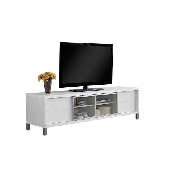 Monarch Specialties I 2537 70 Inch Wide Tv Stand With 4 Storage Drawers White