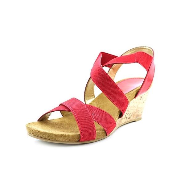 Karen Scott Donya Women Open Toe Canvas Red Wedge Sandal