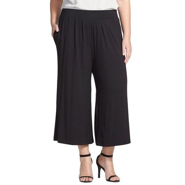 b2821ceb77895 Shop Sejour Deep Black Womens Size 1X Plus Stretch-Knit Palazzo ...