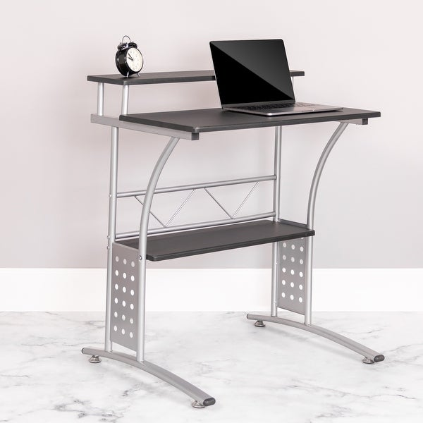 Computer Desk with Top and Lower Storage Shelves. Opens flyout.