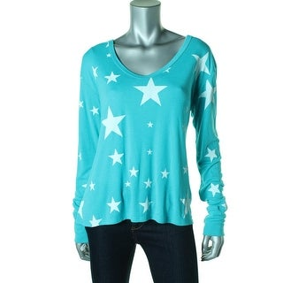 Wildfox Womens Long Sleeves Printed Pullover Top - M