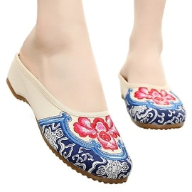 Women fashion Casual Shoes BalletCloth Embroidered Shoes Slipsole beige 35