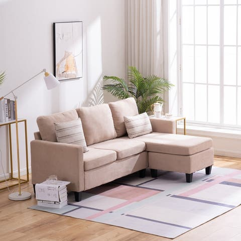Small Size Mordern L Shaped Couch Sectional Sofa Set with Pedal