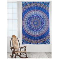 Handmade Cotton Taino Mandala Tapestry Wall Art Beach Sheet 60x90 inches Blue