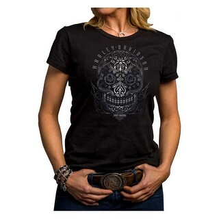 Harley-Davidson Women's Jagged Skull Short Sleeve Crew Shirt, Black 5J27-HE9C