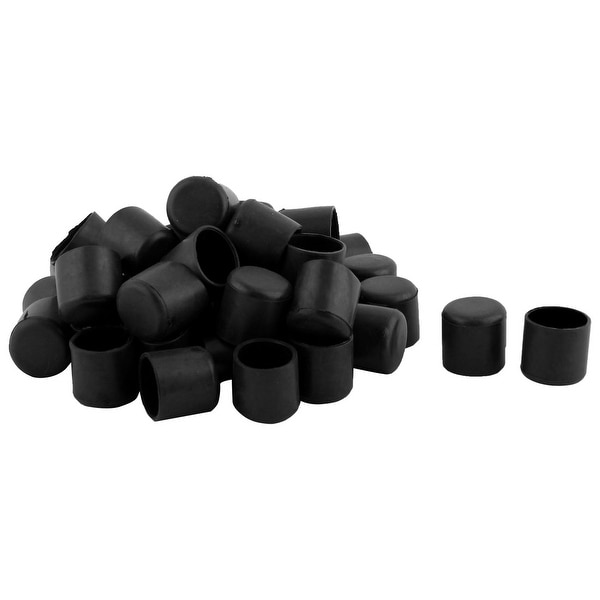 Unique Bargains Furniture Chair Table Leg PVC Round Tube Foot Covers Black 19mm Inner Dia 40 PCS