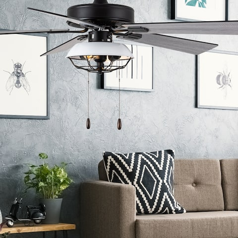"""Hudson River of Goods White and Black Metal 52-inch 2-Light Ceiling Fan - 52"""" x 52"""" x 13.5""""/18.5"""""""