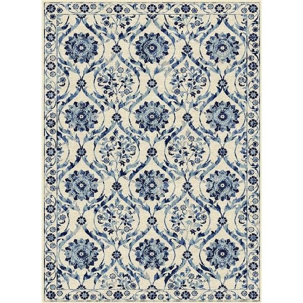 New Persian Floral Design Multi Color Cream Blue White