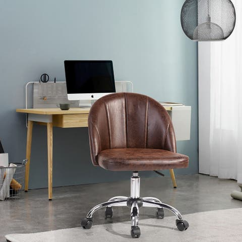 FurnitureR Mid-century Faux Leather Task Chair