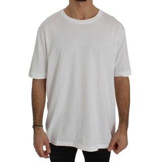 Dolce & Gabbana White Cotton Crewneck T-shirt - it52-xl