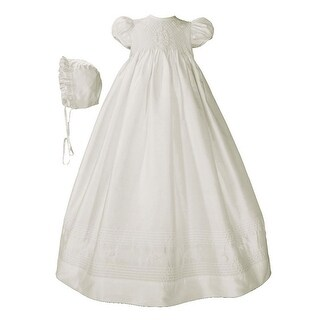 Baby Girls White Silk Smocked Bodice Christening Dress Outfit