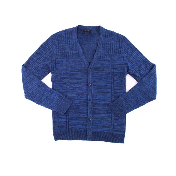 Alfani NEW Neo Navy Blue Mens Size 2XL Space Dyed Cardigan Sweater