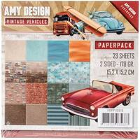 """Find It Trading Amy Design Paper Pack 6""""X6"""" 23/Pkg-Vintage Vehicles, Double-Sided Designs"""