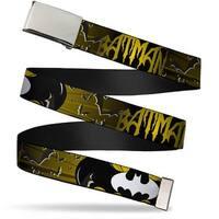 Blank Chrome  Buckle Batman W Bat Signals & Flying Bats Yellow Black Web Belt